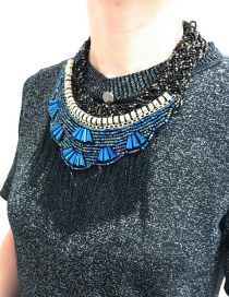 Exaggerated Black+blue Tassel Decorated Hand-woven Necklace