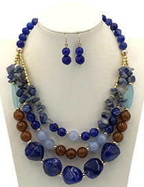 Exaggerated Blue Round Shape Decorated Jewelry Sets