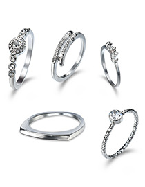Elegant Silver Color Beard Shape Decorated Rings (5pcs)