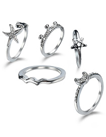 Elegant Silver Color Star&moon Shape Decorated Rings (5pcs)