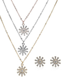 Elegant Gold Color Snowflower Pendant Decorated Jewelry Sets