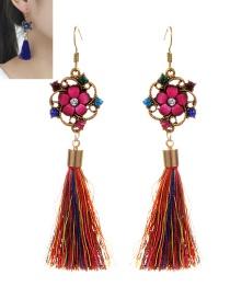 Retro Multi-color Pure Color Decorated Tassel Earrings