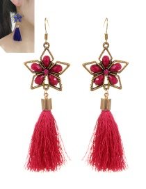 Retro Plum-red Pure Color Decorated Tassel Earrings