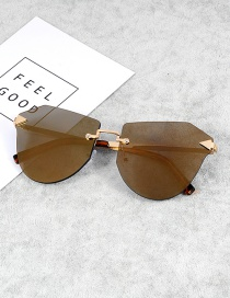 Fashion Yellow Irregular Shape Decorated Sunglasses