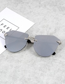 Fashion Silver Color Irregular Shape Decorated Sunglasses