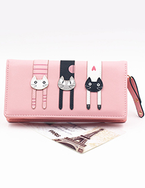 Cute Pink Cat Pattern Decorated Wallet