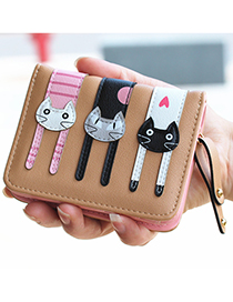 Lovely Coffee Cat Pattern Decorated Short Wallet