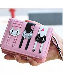 Lovely Pink Cat Pattern Decorated Short Wallet
