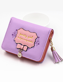 Lovely Purple Bowknot Shape Decorated Coin Purse