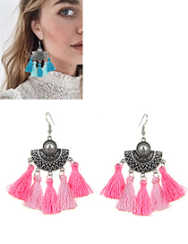 Bohemia Pink Fan Shape Decorated Tassel Earrings