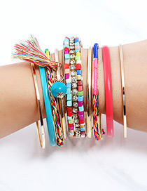 Fashion Multi-color Tassel Decorated Bracelet (9 Pcs)