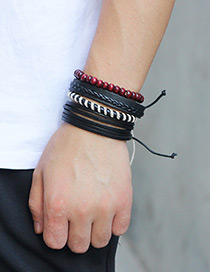 Fashion Black Color Matching Decorated Bracelet ((4 Pcs))