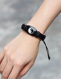 Fashion Black Tai Chi Pattern Decorated Bracelet