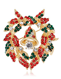 Fashion Gold Color+red+green Bells Shape Decorated Brooch