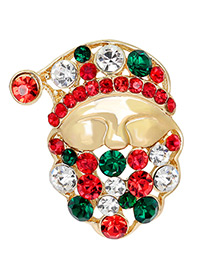 Fashion Gold Color+red+green Santa Claus Shape Decorated Brooch