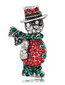 Fashion Antique Silver Snowman Shape Decorated Brooch
