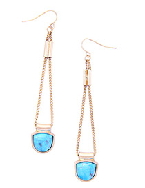 Fashion Gold Color+blue Pure Color Decorated Earrings