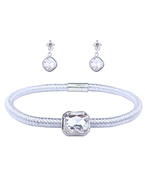 Fashion Silver Color Pure Color Decorated Jewelry Set