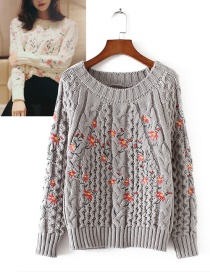 Fashion Gray Flower Shape Decorated Sweater
