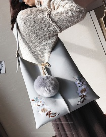 Fashion Light Gray Embroidery Flower Decorated Shoulder Bag