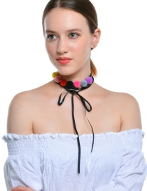 Fashion Multi-color Fuzzy Ball Decorated Color Matching Necklace