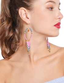Fashion Gold Color Beads Decorated Tassel Design Earrings