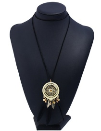 Fashion Black Hollow Out Round Shape Decorated Long Necklace