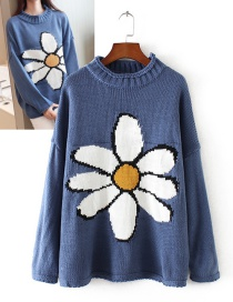 Fashion Blue Flower Pattern Decorated Sweater