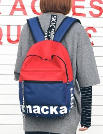 Fashion Blue+red Letter Pattern Decorated Backpack