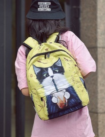 Fashion Yellow Cat Pattern Decorated Backpack