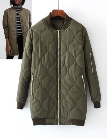 Fashion Army Green Pure Color Decorated Coat