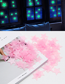 Fashion Pink Star Shape Decorated Wall Sticker (100 Pcs)