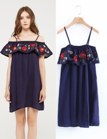 Fashion Navy Flower Decorated Off The Shoulder Shirt