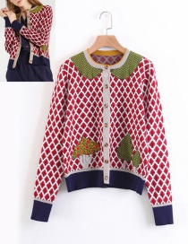 Fashion Red Grid Pattern Decorated Coat