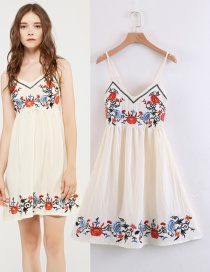 Fashion Beige Embroidery Flower Decorated Dress