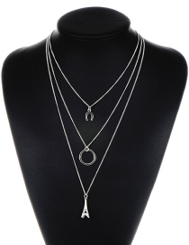 Fashion Silver Color Towel Decorated Necklace