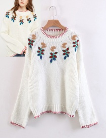 Fashion White Flower Shape Decorated Sweater
