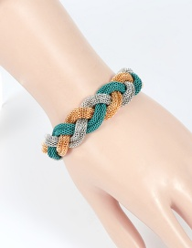 Fashion Gold Color+silver Color+green Color Matching Decorated Bracelet