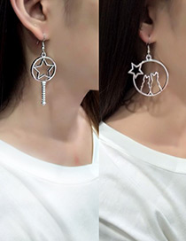 Fashion Silver Color Cat&star Shape Decorated Earrings