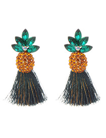 Fashion Green Pineapple Shape Decorated Earrings