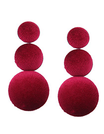 Fashion Claret Red Pure Color Decorated Ball Shape Earrings