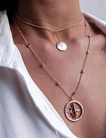 Elegant Gold Color Compass Pendant Ecorated Double Layer Necklace