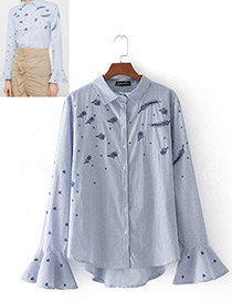 Fashion Blue+white Embroidery Flower Decorated Simple Blouse