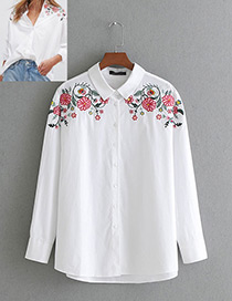 Fashion White Flower Pattern Decorated Long Sleeves Shirt