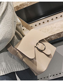 Elegant Khaki Circular Ring Decorated Shoulder Bag