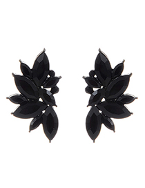 Fashion Black Oval Shape Decorated Earrings