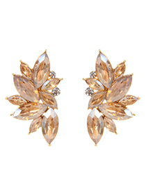 Fashion Champagne Oval Shape Decorated Earrings