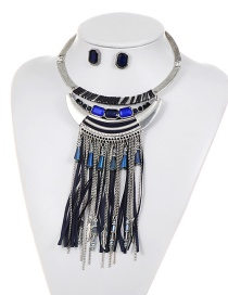 Fashion Sapphire Blue Long Tassel Decorated Jewelry Sets