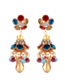 Fashion Multi-color Flower Shape Decorated Simple Earrings
