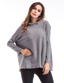 Trendy Gray Pure Color Decorated Long Sleeves Sweater